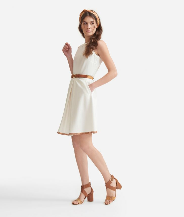 Sleeveless dress in jersey White,front