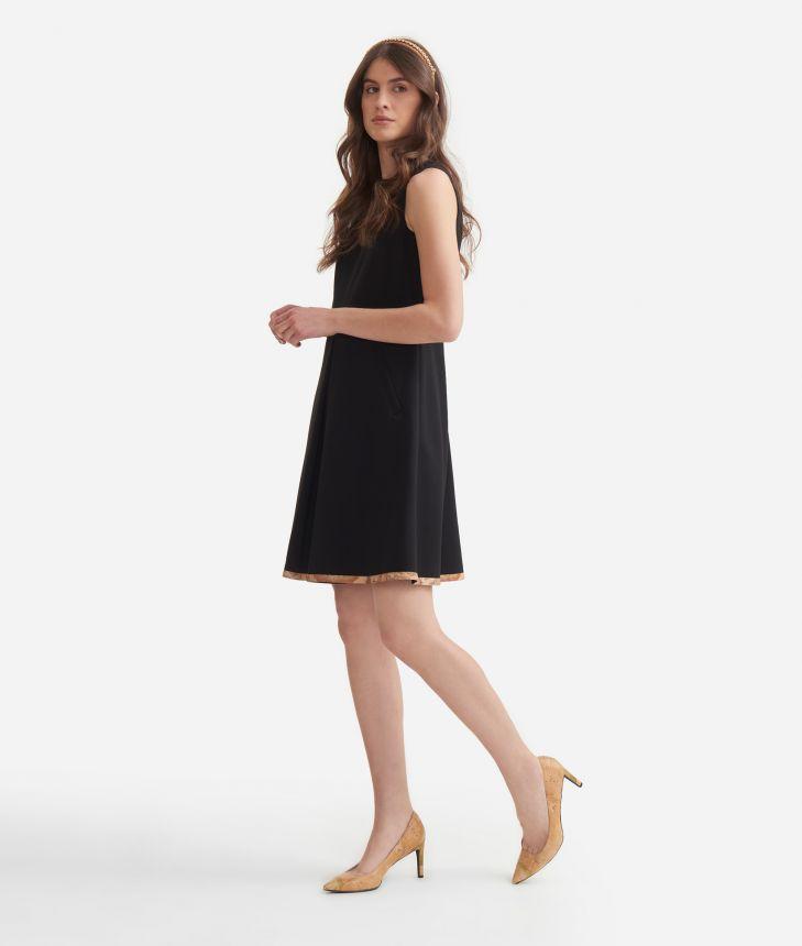 Sleeveless dress in jersey Black,front