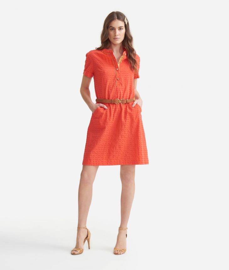 A-line dress in cotton Red,front