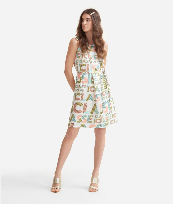 Dress with belt in twill with lettering print White,front