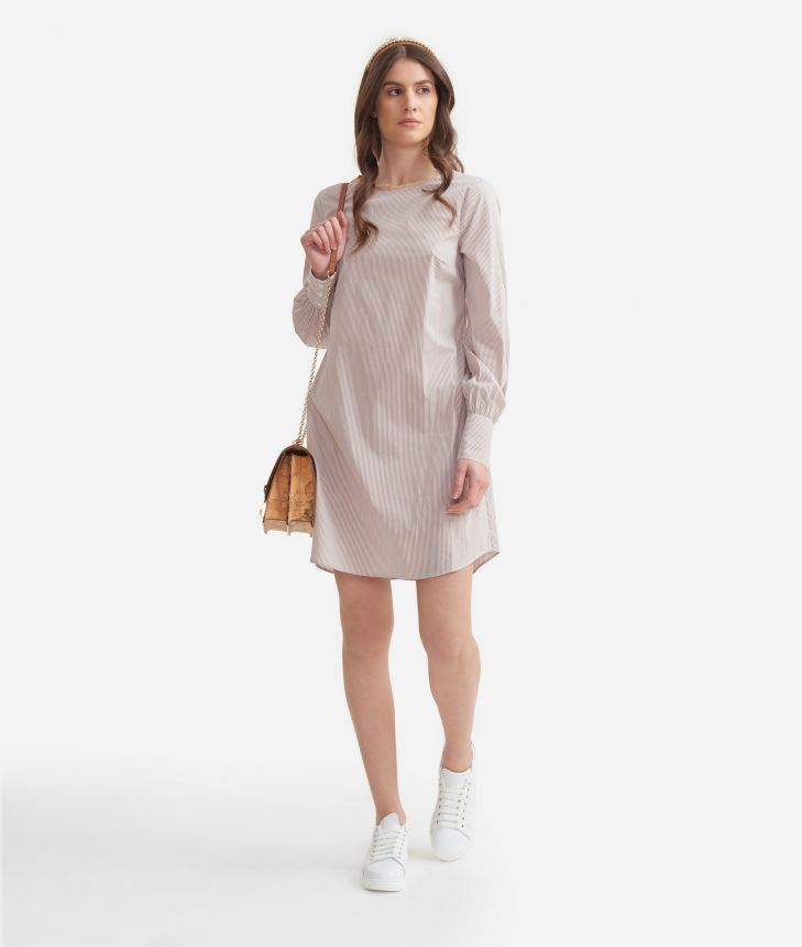 A-line dress in stretch cotton White,front