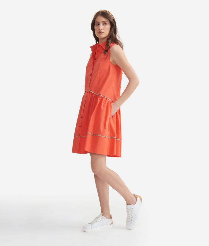 Dress with flounce in cotton poplin Red,front