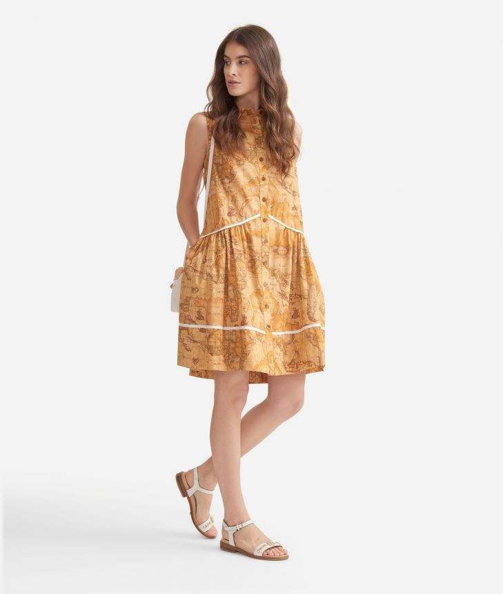 Dress with flounce in poplin cotton with Geo Classic print,front
