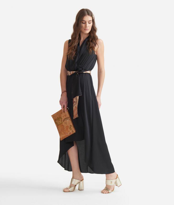 Long dress in crêpe Black,front