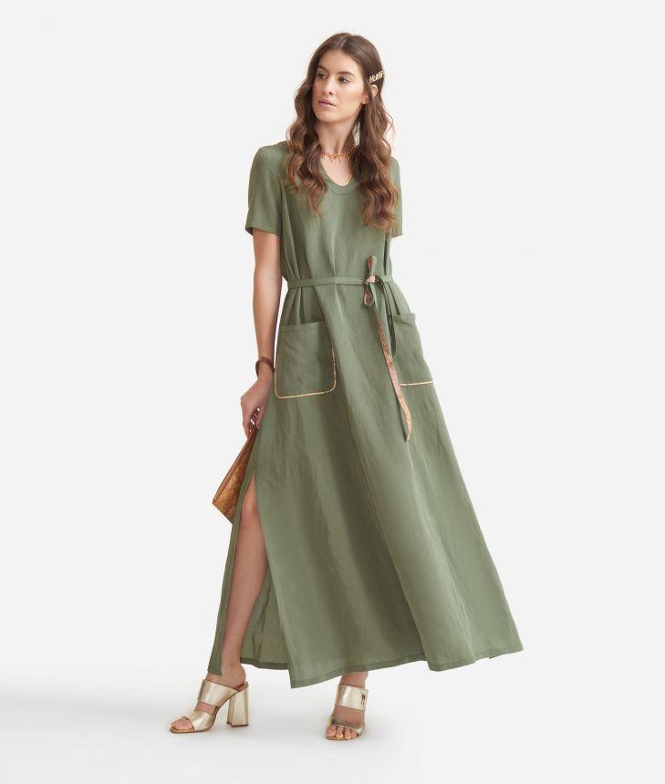 Long dress in linen blend Green,front