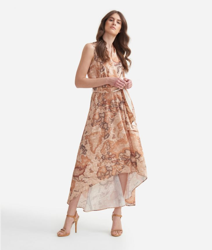 Long dress in twill with Geo Classic print,front