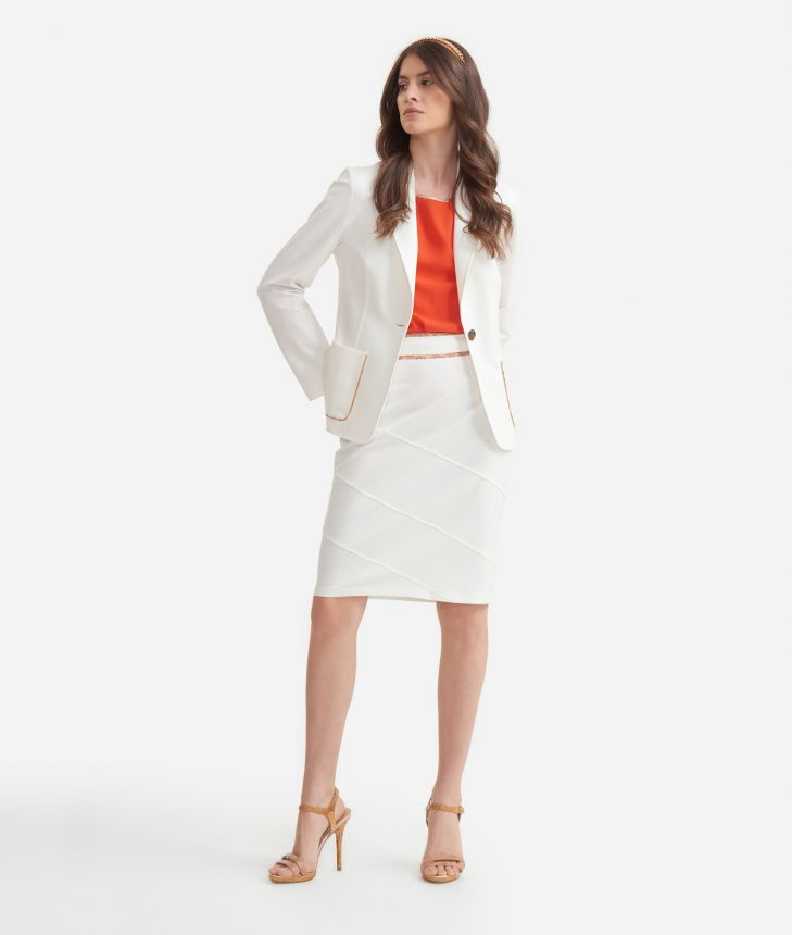 Pencil skirt in jersey White,front