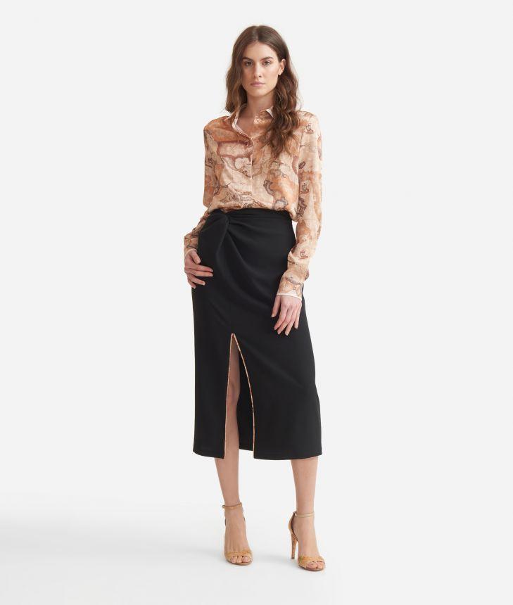 Longuette skirt in fluid fabric Black,front