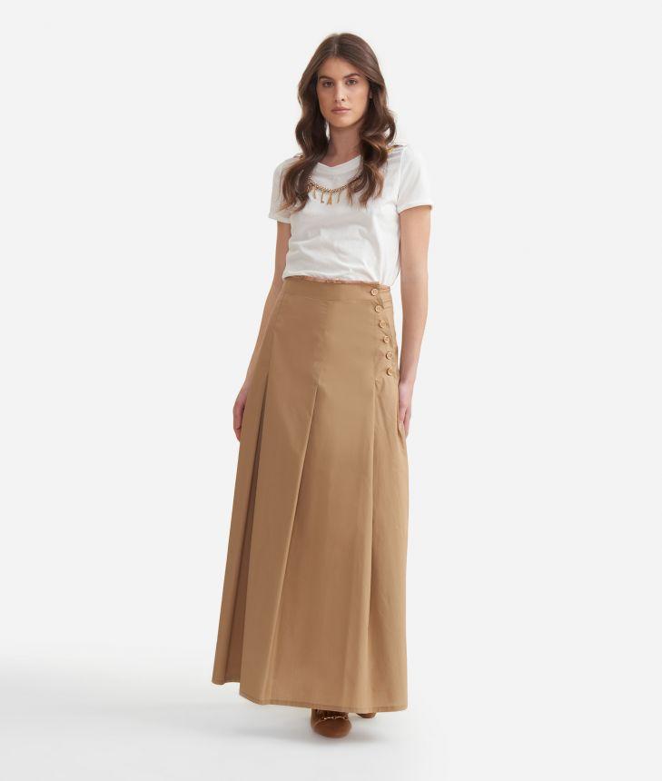 Longuette skirt in cotton poplin Beige,front