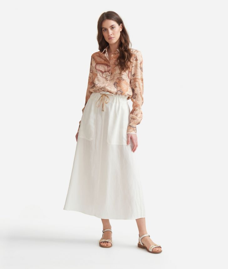 Long skirt with drawsting in linen blend Beige,front