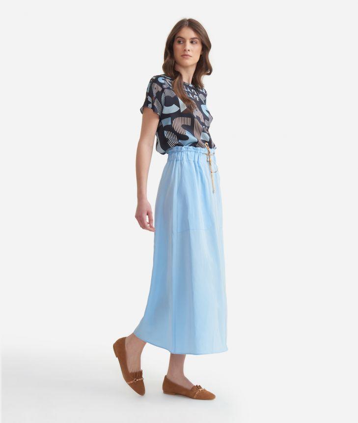 Long skirt with drawsting in linen blend Light Blue,front