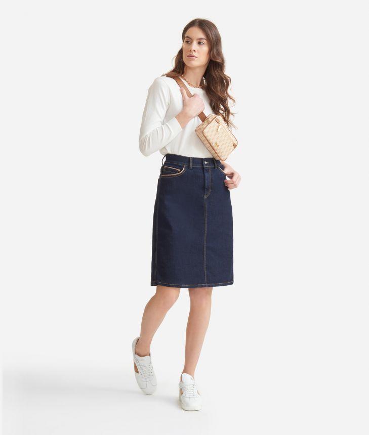 Longuette skirt in denim stretch Blue,front