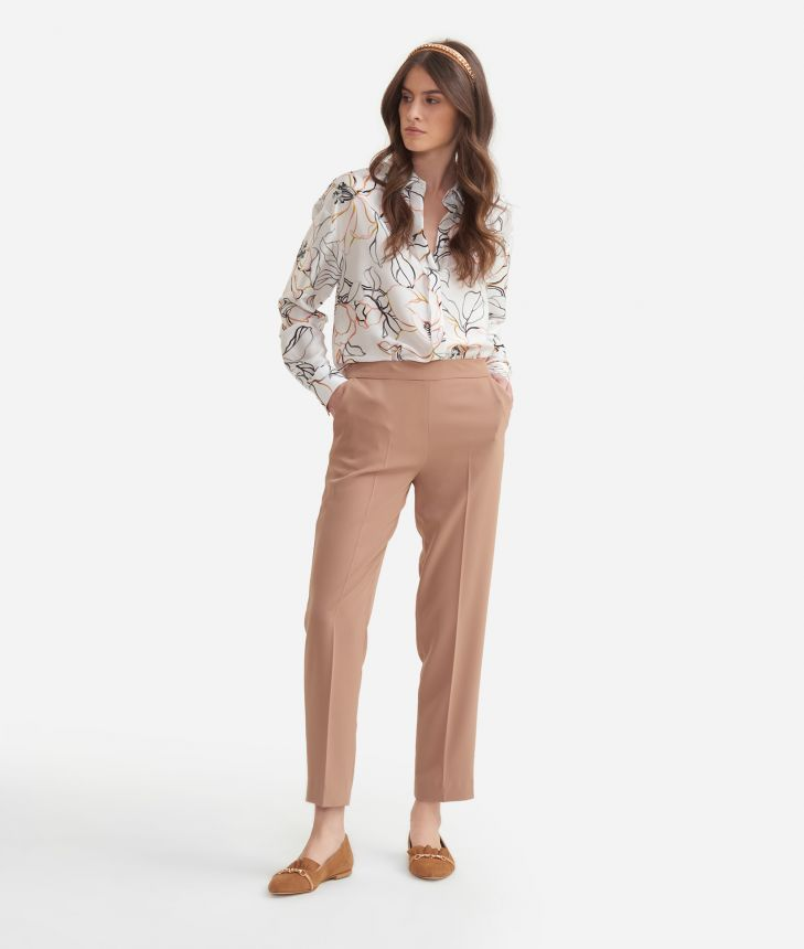 Trousers in fluid fabric Beige,front