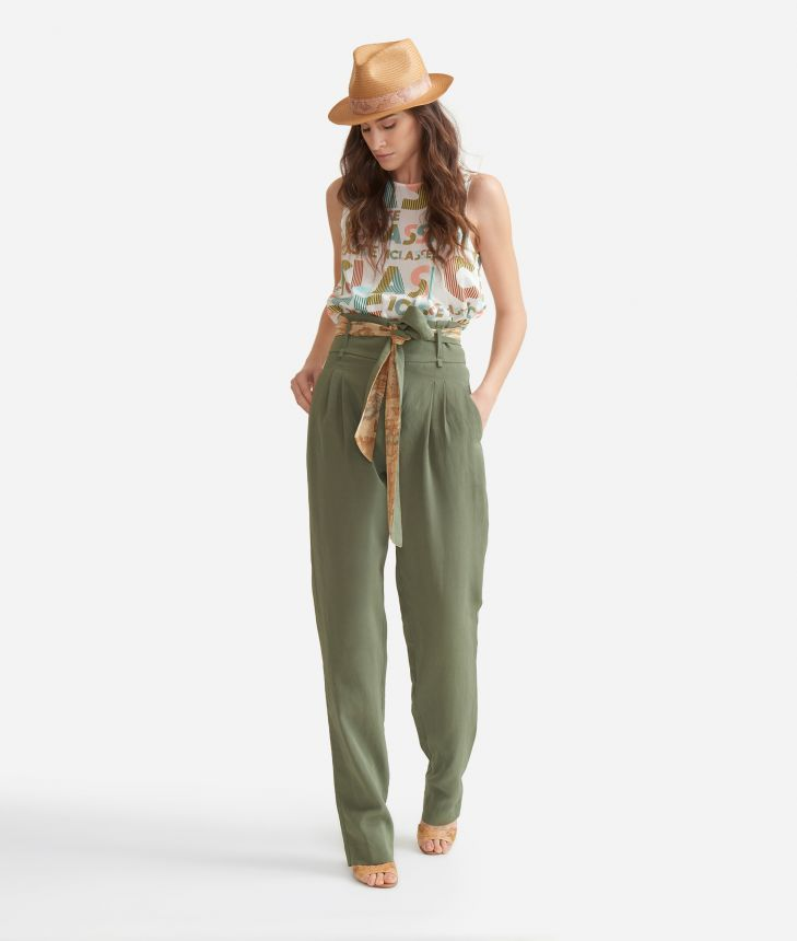 Trousers with belt in linen blend Green,front