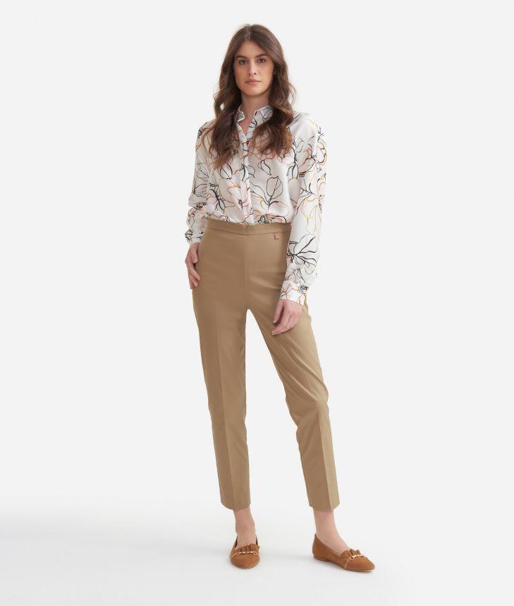 Cigarette trousers in stretch cotton gabardine Beige,front