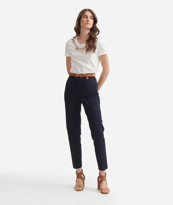 Cigarette trousers in stretch cotton gabardine Blue,front