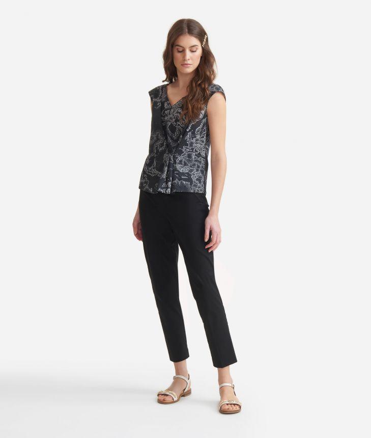 Cigarette trousers in stretch cotton gabardine Black,front