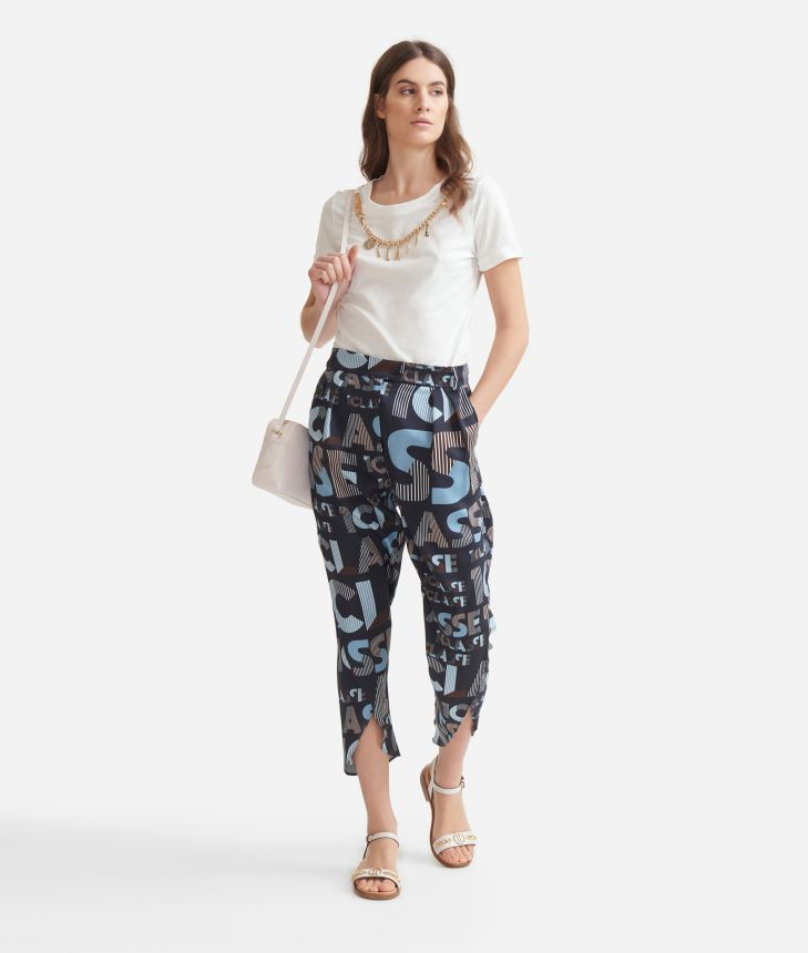 Pareo trousers in twill with lettering print Blue,front