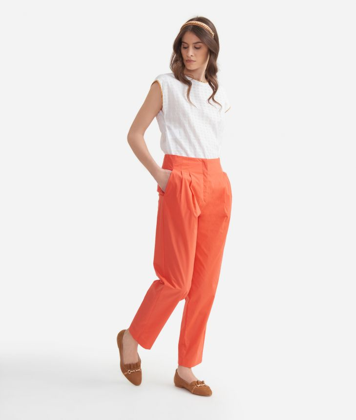 High-waist trousers in cotton poplin Red,front