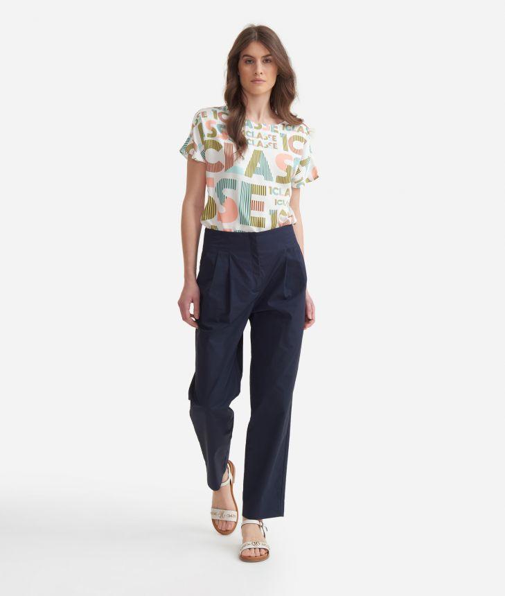 High-waist trousers in cotton poplin Blue,front