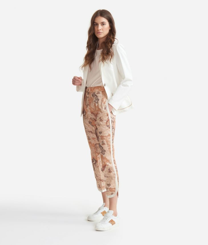 Smoking pants in twill with Geo Classic print,front