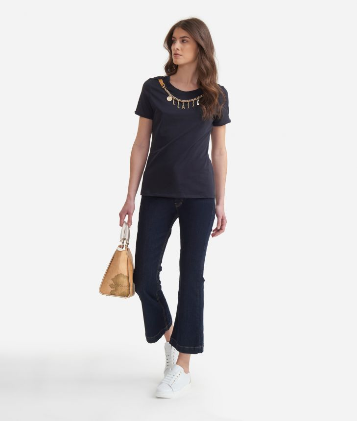 T-shirt with decorative chain in jersey cotton Blue,front