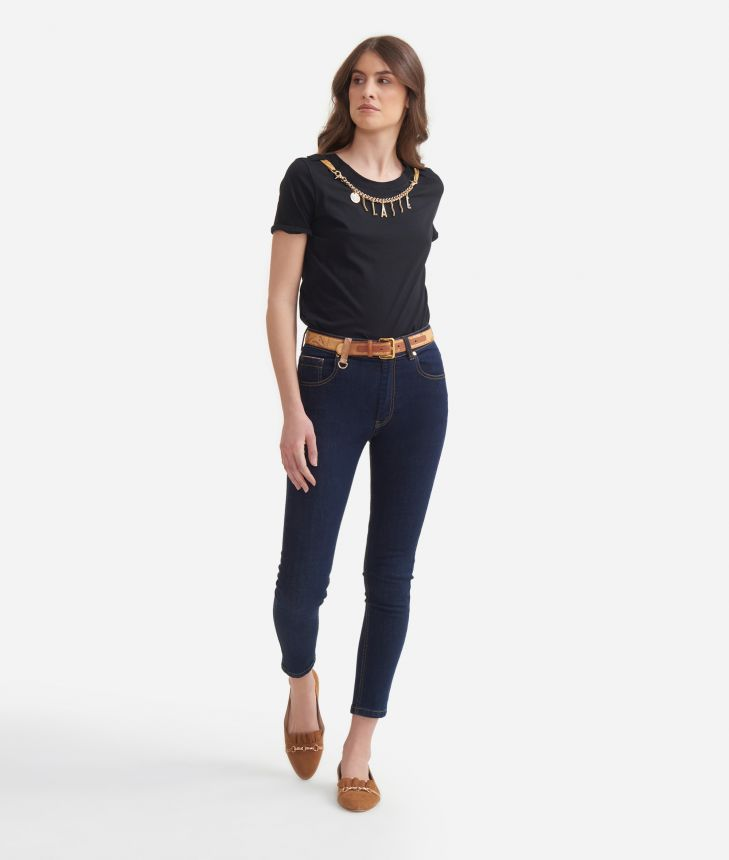 T-shirt with decorative chain in jersey cotton Black,front