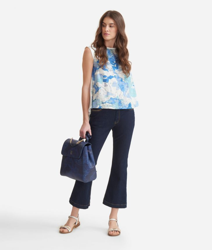 Top with Geo Camouflage print,front