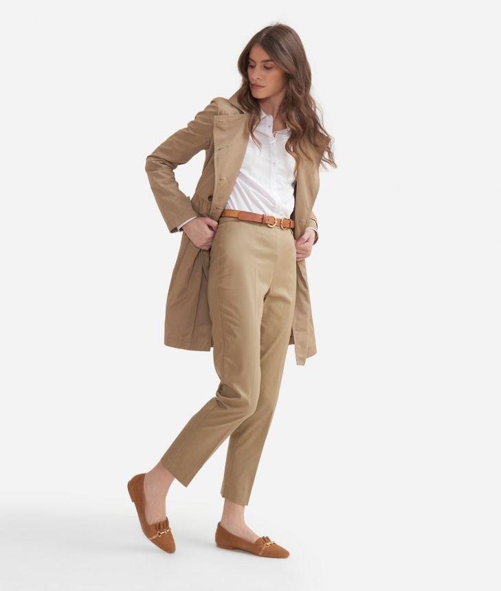 Camicia slim fit in popeline di cotone stretch Bianca,front