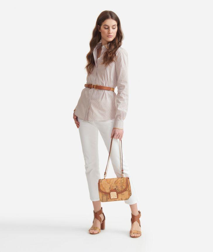 Camicia in bastonetto di cotone Bianca,front