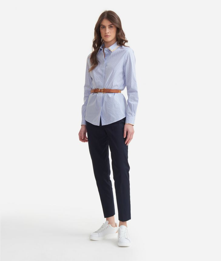 Shirt in stretch cotton White,front