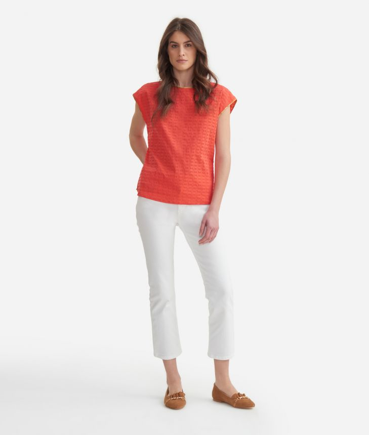 Short sleeves blouse in cotton Red,front