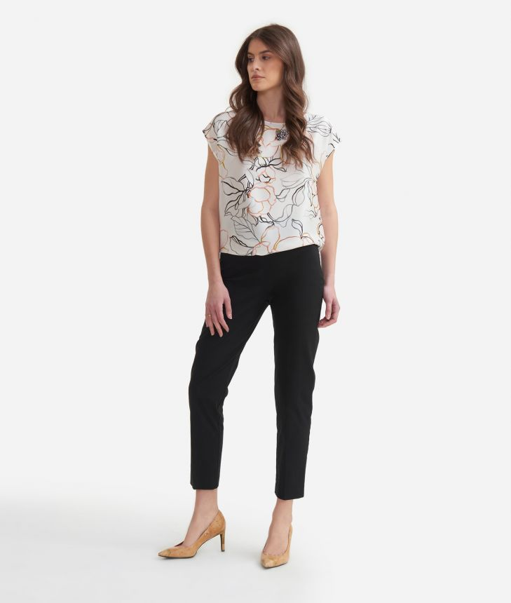 Blouse in twill with maxi flowers print,front