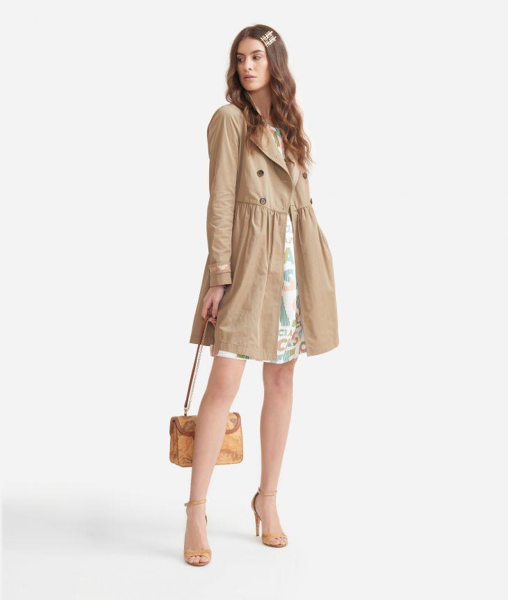 Trench coat in nylon memory Beige,front