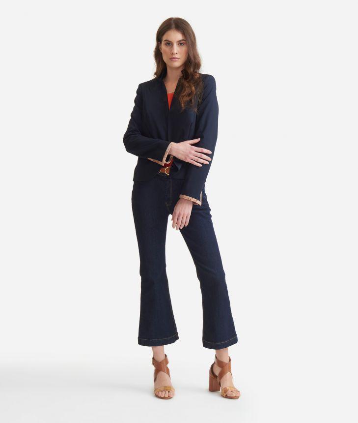 Blazer in stretch cotton gabardine Blue,front