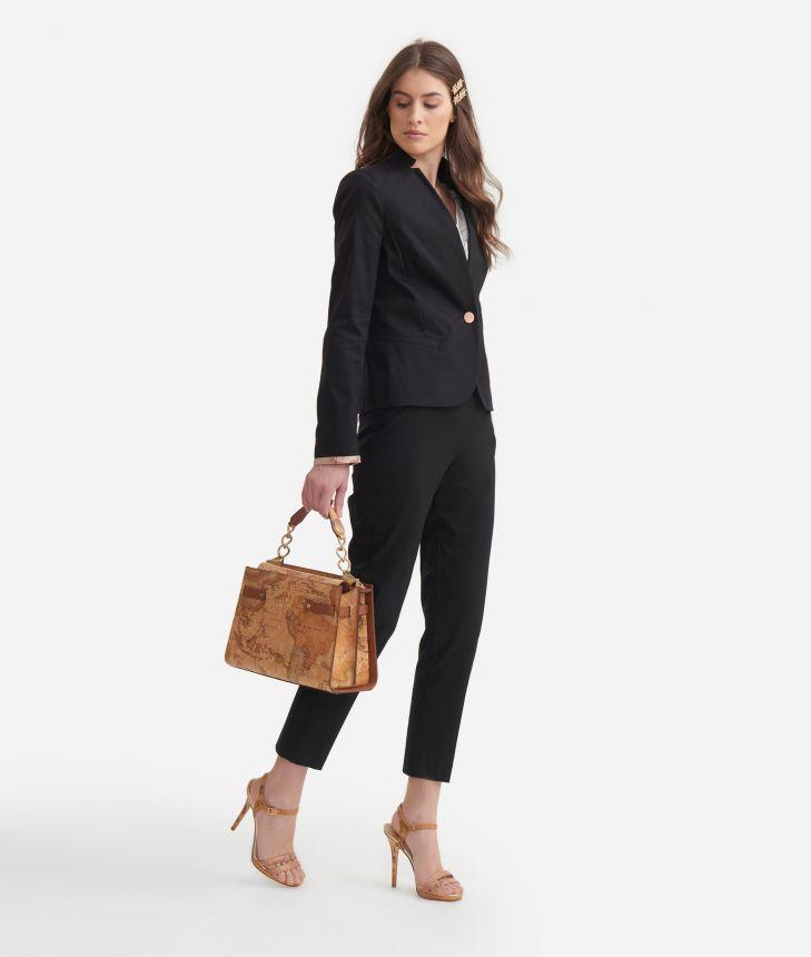 Blazer in stretch cotton gabardine Black,front