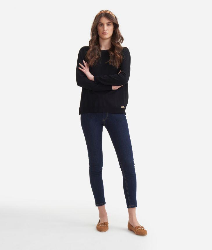 Crewneck sweater in viscose stretch Black,front