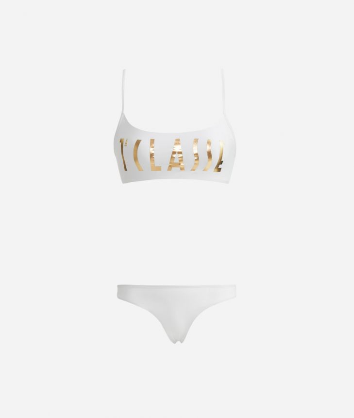 Bikini maxi logo 1a Classe Gold - Simple bandeau bra and brazilian briefs White,front
