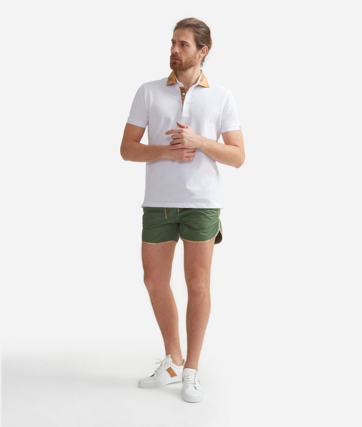 Short beach boxer with Geo Classic details Military Green,front