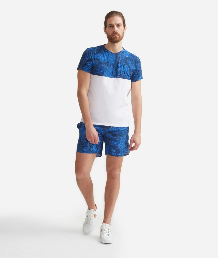 Man's T-shirt with Geo Color print Blue Ocean,front