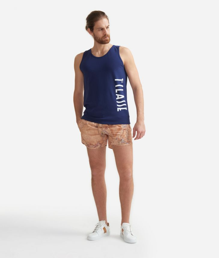 Man's tank top Navy Blue with logo 1a Classe White,front