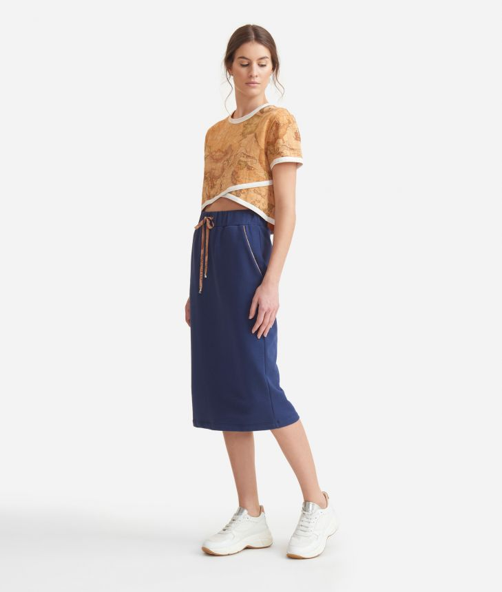 Longuette skirt in cotton fleece Blue,front