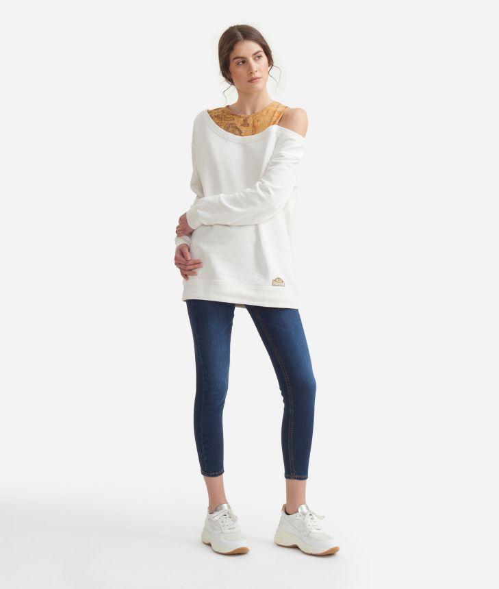 Oversized sweatshirt in cotton fleece White,front