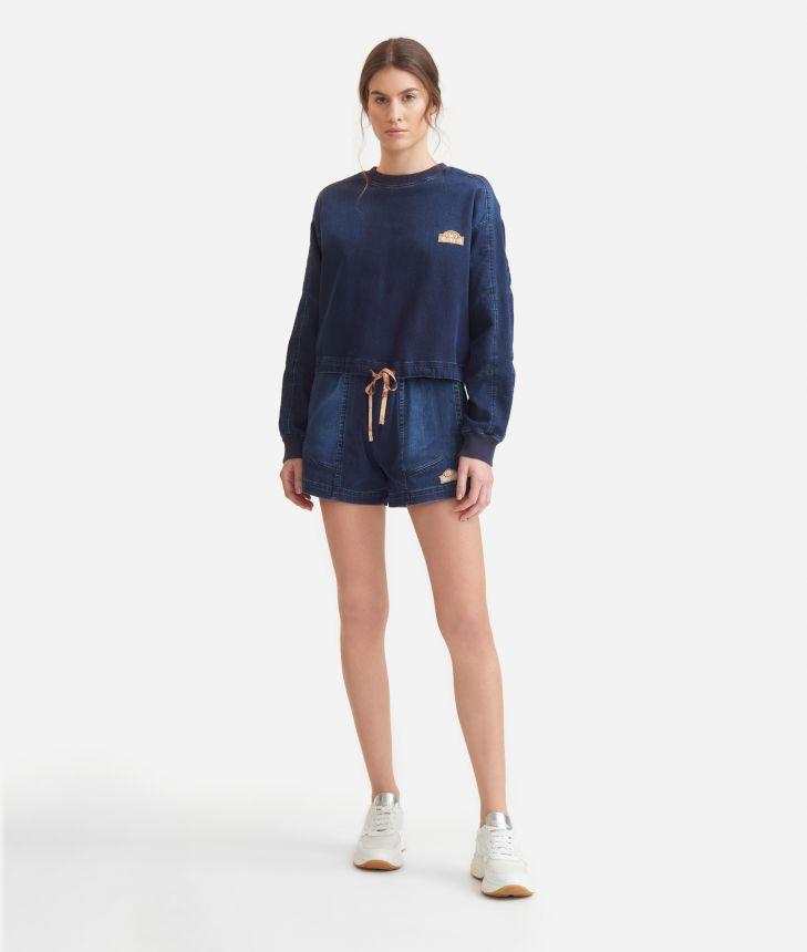 Sweatshirt with drawstring in denim fleece Blue,front