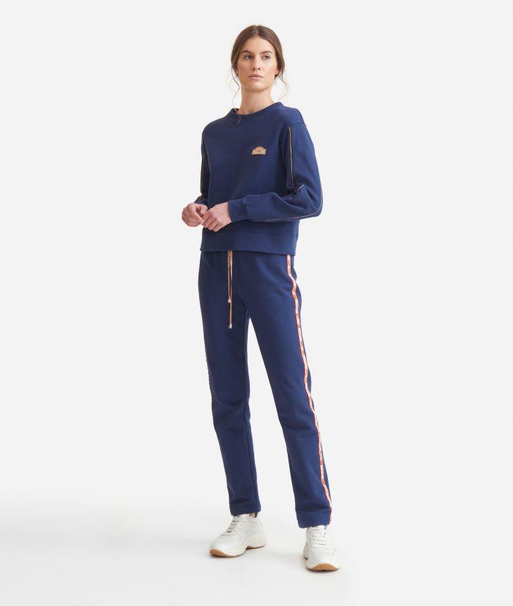 Crewneck sweatshirt in cotton fleece Blue,front