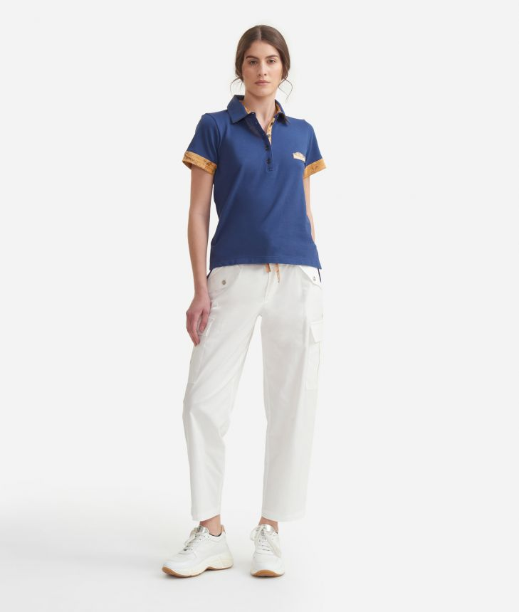 Polo in piquet cotton Blue,front