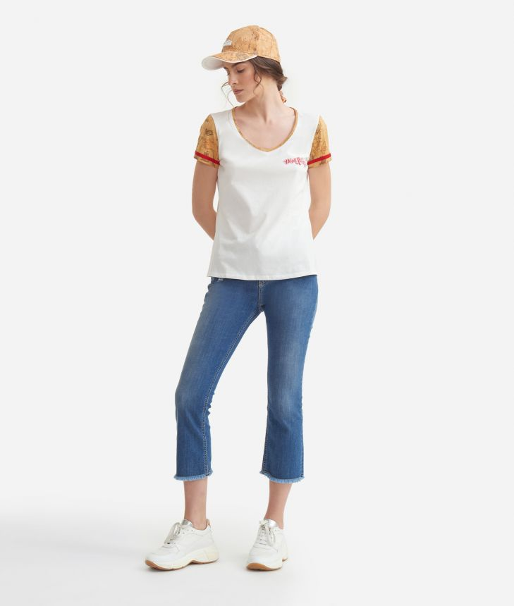 V-neck t-shirt in jersey di cotone Bianca,front