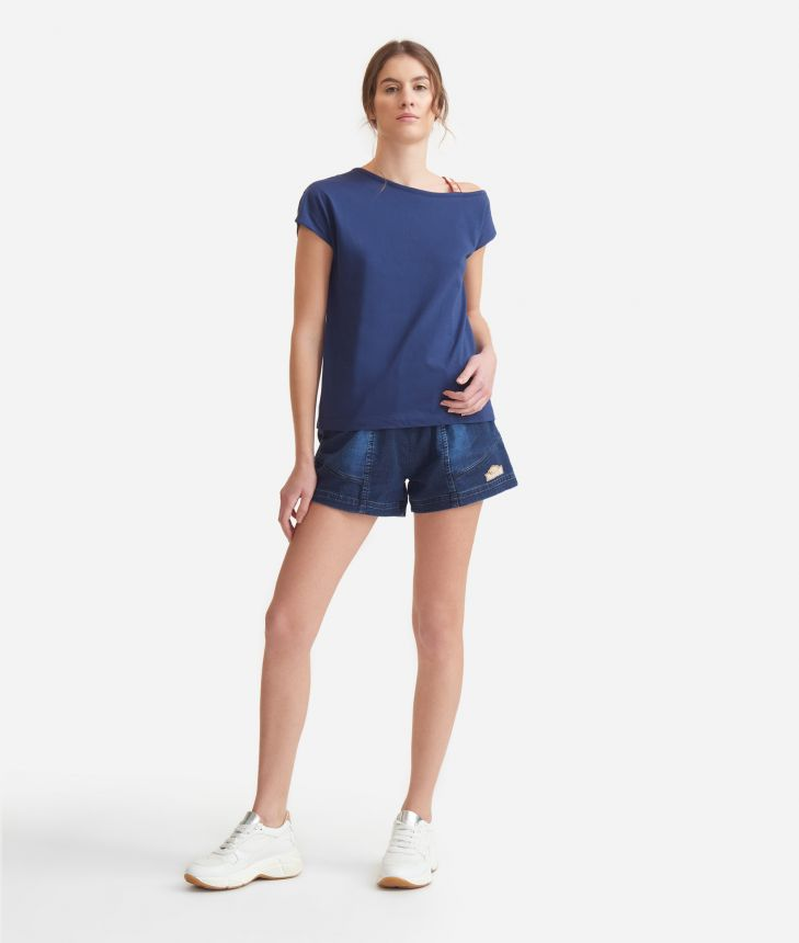 T-shirt in jersey cotton Blue,front