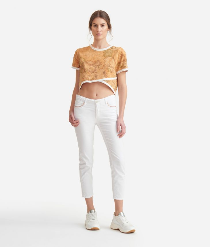 Crossed T-Shirt in Geo Classic print jersey,front