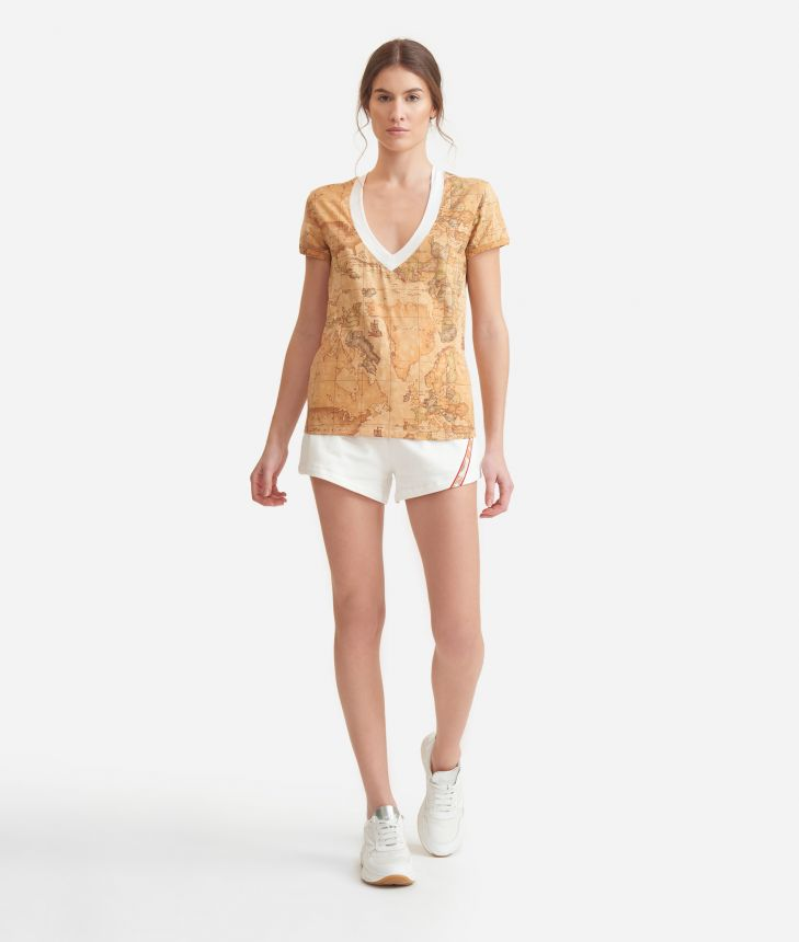 V-neck t-shirt in Geo Classic print jersey,front
